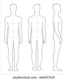 Vector illustration of men's body proportions and measurements for clothing design and sewing. Front, back side views