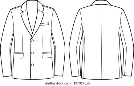 Vector illustration of men's business jacket. Front and back views
