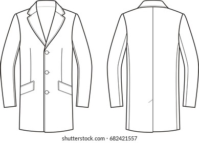 Vector illustration of men's coat. Front and back. Clothes in business style