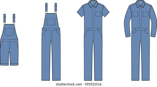 Vector illustration of men's jean overall. Clothes in denim style