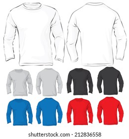 Vector illustration of men's long sleeved t-shirt template in many color, front and back design