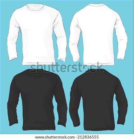62eb2bb31ab0 Vector illustration of men s long sleeved t-shirt template isolated on white