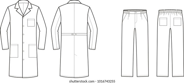 Vector illustration of men's medical gown and pants. Front and back. Work clothes