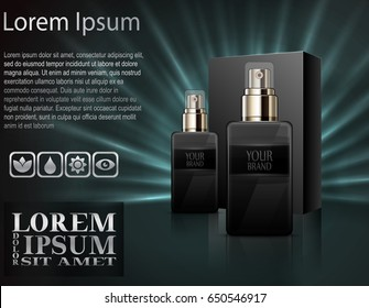 Vector illustration of Mens perfume with package box