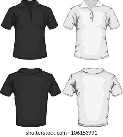 vector illustration of men's polo shirt template in black and white, front and back design, check out my portfolio for different t-shirt templates