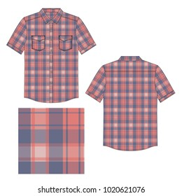 Vector illustration of men's shirt with tartan plaid pattern. Front and back
