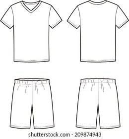 Vector illustration of men's sleepwear. T-shirt and shorts. Front and back views