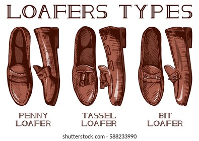 Vector illustration of mens suit and casual loafer shoes set: penny, tassel, bit loafers. Vintage drawing style.