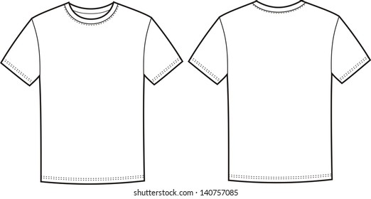 Vector illustration of men's t-shirt. Front and back views