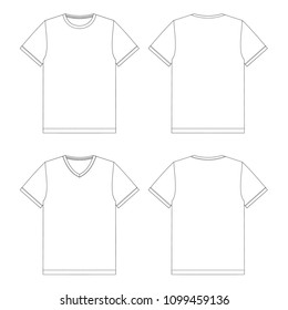 Vector illustration of men's T-shirts v-neck and crew neck. Front and back