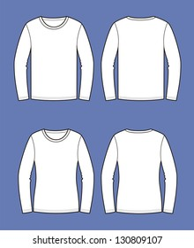 Vector illustration of men's and women's jumpers. Casual clothes. Front and back views