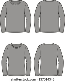 Vector illustration. Men's and women's jumpers. Casual clothes. Front and back views
