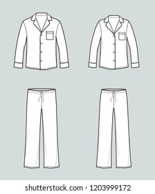 Vector illustration of men's and women's pajamas. Night suit: jacket and pants