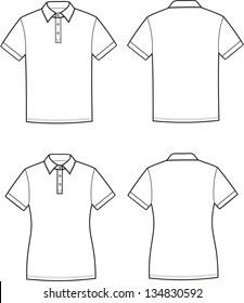 237dde1c8a Vector illustration of men s and women s polo t-shirts. Casual clothes.  Front and