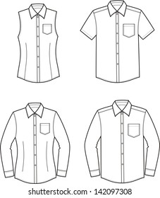 Vector illustration of men's and women's shirts. Casual clothes