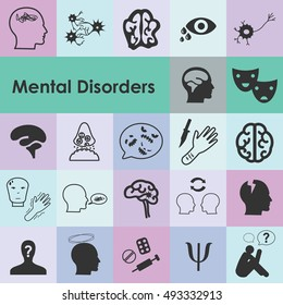 vector illustration of mental disorders icons for different psychiatric diseases and conditions as depression phobia emotional problems visualization