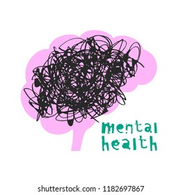 Vector illustration of mental health concept with brain