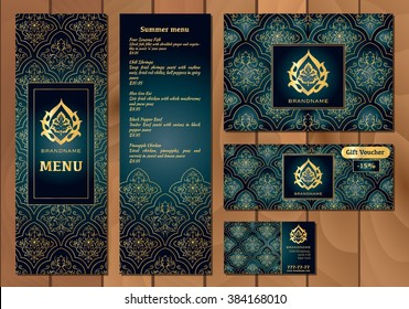 Vector illustration of a menu for a restaurant or cafe Arabian oriental cuisine, business cards and vouchers. Hand-drawn gold pattern on a dark background. Logos Arabic flower.