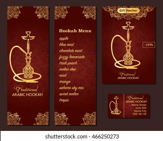 Vector illustration of a menu for a restaurant or cafe Arabian oriental cuisine with hookah, business cards. Hand-drawn islamic flower pattern
