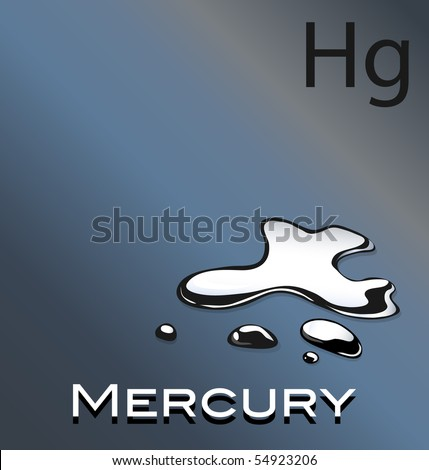 Vector Illustration Mercury Chemical Symbol Hg Stock Vector Royalty