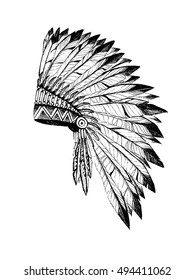 Vector illustration of merican Indian chief headdress in boho style.  Hand draw rouch in rustic style vector illustration on white background.