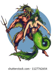 vector illustration of mermaid and merman poseidon neptune gods sea creature drawing tattoo