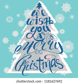 Vector illustration. Merry Chrismas print. Happy New year print. Christmas tree and snowflackes. Lettering. Perfect for greetings, invitations, manufacture wrapping paper, textile and web design.