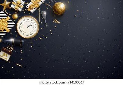 vector illustration of merry christmas 2018 gold and black collors place for text christmas balls 2019 2020