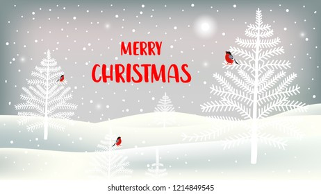 Vector illustration. Merry Christmas greeting card with cute characters. Background with bullfinches, christmas trees, landscape and snowfall.