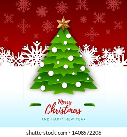 Vector illustration of Merry Christmas greeting card with christmas tree. Origami. Cut out paper art style design