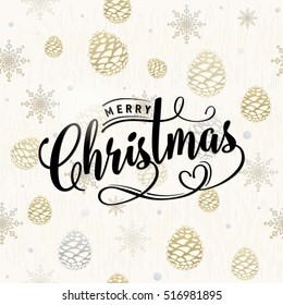 Vector illustration of Merry Christmas greeting with golden snowflakes, dots, pine cones, lettering inscription. Old gold magic winter congratulation with Christmas in retro style