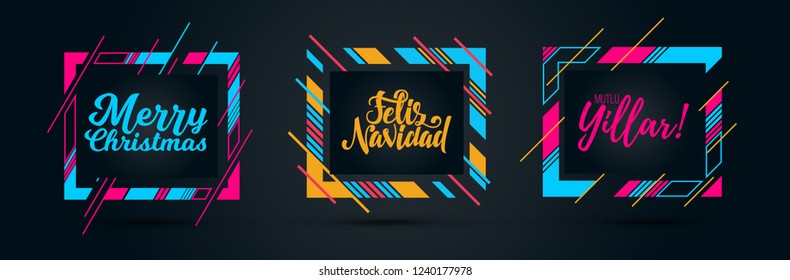 vector illustration. Merry Christmas and Happy New Year 2019. Merry Christmas in different languages of the world. Translation from Turkish and Spanish: Merry Christmas