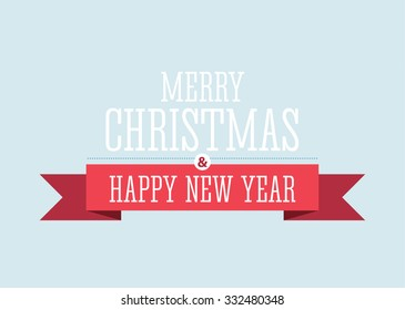 """Vector illustration of the """"Merry Christmas and happy New Year"""" decorative sign with red ribbon on the blue background."""