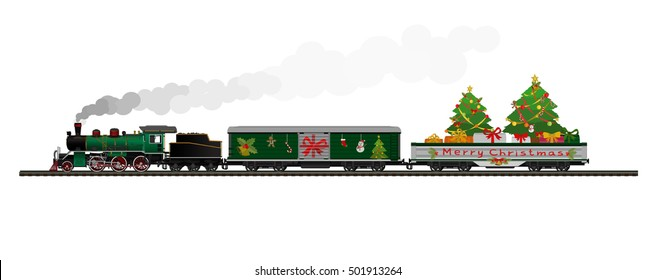 Vector Illustration: Merry christmas and Happy new year : Steam locomotive Container Train Delivery on isolated on white background.