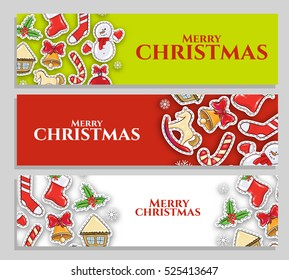 vector illustration. Merry Christmas and Happy New Year 2017 design elements for design of gift cards, brochures, flyers, leaflets, posters