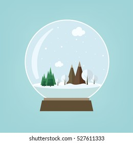 Vector illustration: Merry Christmas and Happy New Year. Snow globe with winter mountains landscape isolated on light blue background.