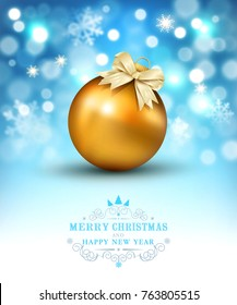 Vector illustration for Merry Christmas and Happy New Year. Greeting card with golden ball on a blue bokeh background. Template for elegant design of postcard, flyer, congratulatory brochure
