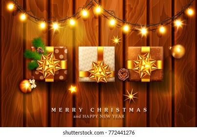 Vector illustration for Merry Christmas and Happy New Year . Greeting card with New Year's with bright luminous garlands on a wooden background and text in a frame.Template for postcard
