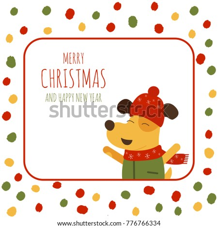 vector illustration of merry christmas and happy new year text on polka dot background with yellow