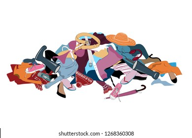 Vector Illustration with a Messy Pile of Dirty Laundry.