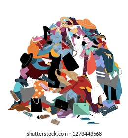 Vector Illustration with a Messy Pile of Dirty Laundry. Big pile of useless clothes. Nothing to wear concept, home stuff and rubbish