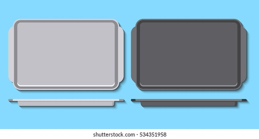 Vector illustration of metal pans for baking in oven. Flat styled art. Oven-tray isolated on blue background. Great for recipe design.