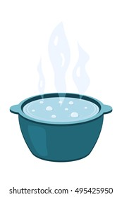 Vector illustration of a metal pot with boiling water. Cooking food. Cartoon kettle with steam on a white background.