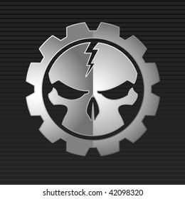 Vector illustration of metal skull over gray background