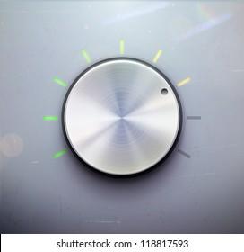 Vector illustration of metal volume control knob