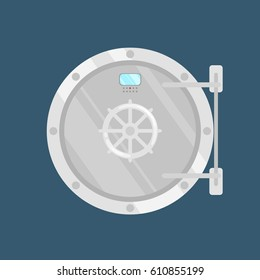 Vector illustration  of  Metallic bank vaulted door isolated. Locked safe.
