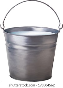 Vector illustration of Metallic bucket with milk isolated on white background