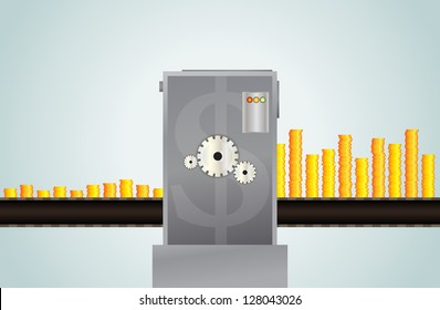 Vector illustration of metaphor of investment, few gold coins came out abundantly.