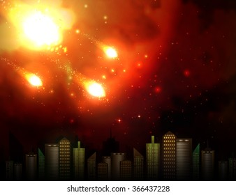 Vector illustration of a meteor over the city.