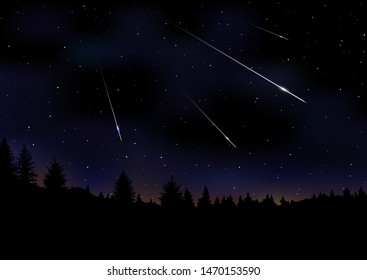 Vector illustration of Meteor Shower. Falling Perseids on dark night sky. Meteor rain, falling glowing comets on natural landscape at night. Sci-fi, scientific, astronomy background with copy space.